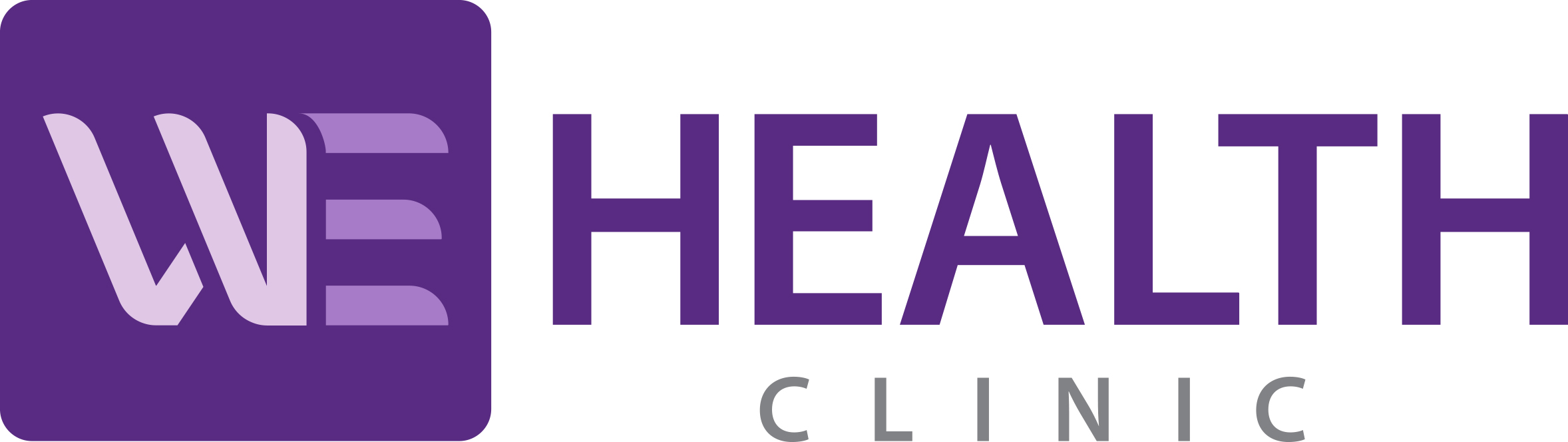WE Health logo purple and grey